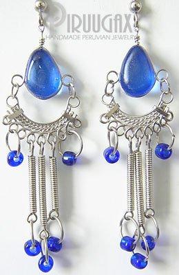 BLUE SKY Murano Glass Silver Chandelier Earrings