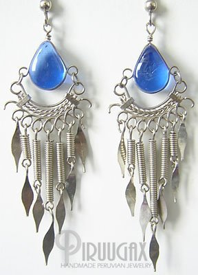 BLUE DREAM Murano Glass Silver Chandelier Earrings