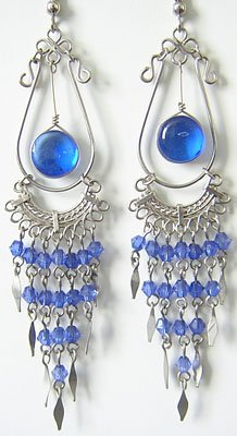 ANGELIC Murano Glass Silver Chandelier Earrings