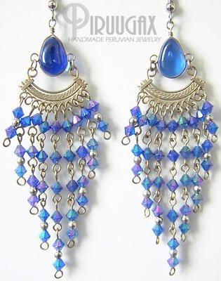 MYSTICAL BLUE Murano Glass Silver Chandelier Earrings
