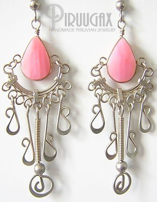 INCA ROSE Pink Opal Silver Chandelier Earrings