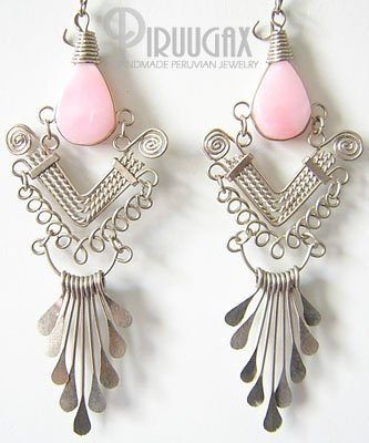 ANDEAN WHISPER Pink Opal Silver Chandelier Earrings