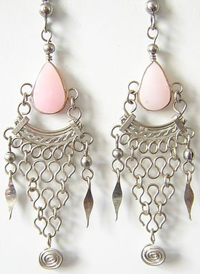 TALISMAN Pink Opal Silver Chandelier Earrings
