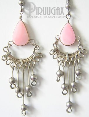 PINK MERMAID Pink Opal Silver Chandelier Earrings
