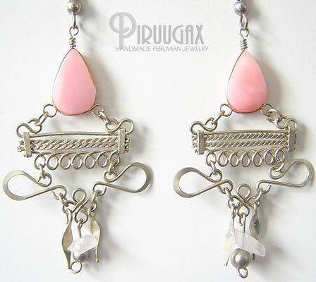 INCA BEAUTY Pink Opal Silver Chandelier Earrings