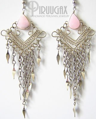 ANDEAN TULIP Pink Opal Silver Chandelier Earrings