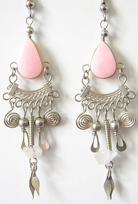 DAZZLING PETALS Pink Opal Silver Chandelier Earrings