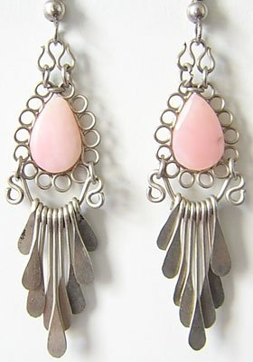 SACRED ROSE Pink Opal Silver Chandelier Earrings