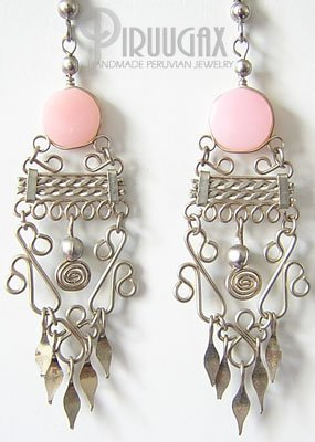 ANDEAN LOVE Pink Opal Silver Chandelier Earrings