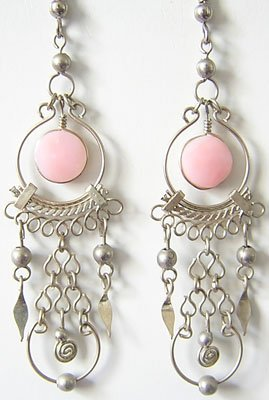 IMPERIAL Pink Opal Silver Chandelier Earrings