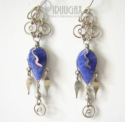 NATIVE FEATHER Lapis Sodalite Silver Chandelier Earrings