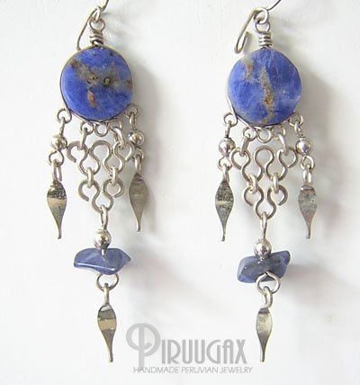 ANDEAN Lapis Sodalite Silver Chandelier Earrings