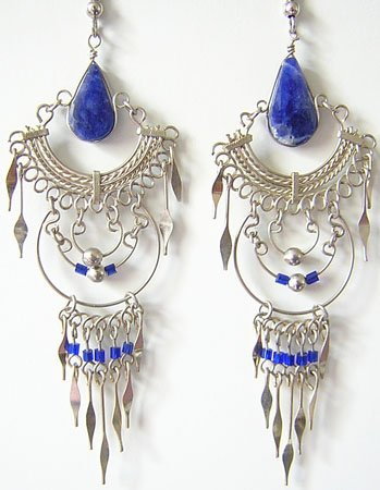 INDIAN SPIRIT Lapis Sodalite Silver Chandelier Earrings