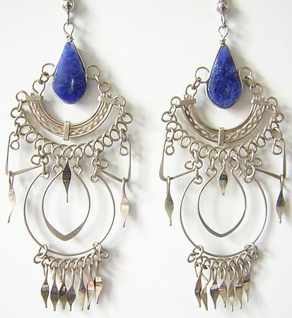 BLUE PARADISE Lapis Sodalite Silver Chandelier Earrings