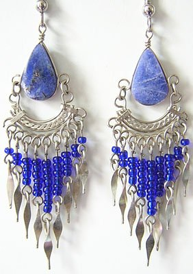 BLUE DREAM Lapis Sodalite Silver Chandelier Earrings