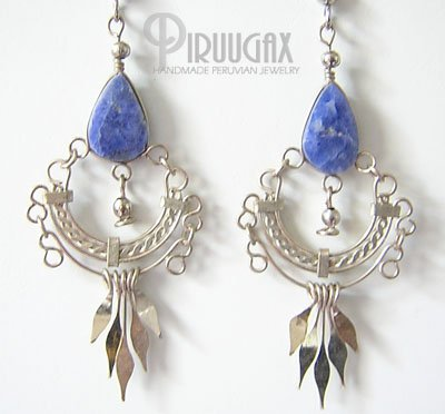 NATIVE HERITAGE Lapis Sodalite Silver Chandelier Earrings