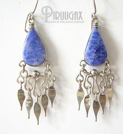 HEAVEN Lapis Sodalite Silver Chandelier Earrings