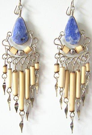 MYSTICAL BLUE Lapis Sodalite Silver Chandelier Earrings