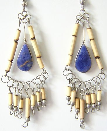 MYSTICAL BLUE Lapis Sodalite Silver Chandelier Earrings