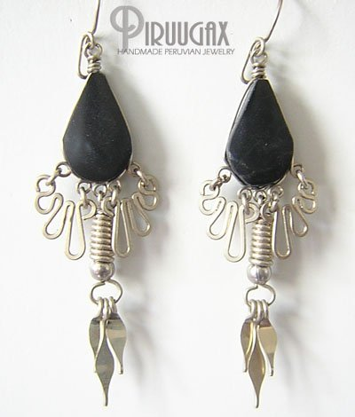 FREEDOM Black Obsidian Silver Chandelier Earrings