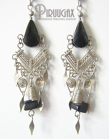 NATIVE PRIDE Black Obsidian Silver Chandelier Earrings