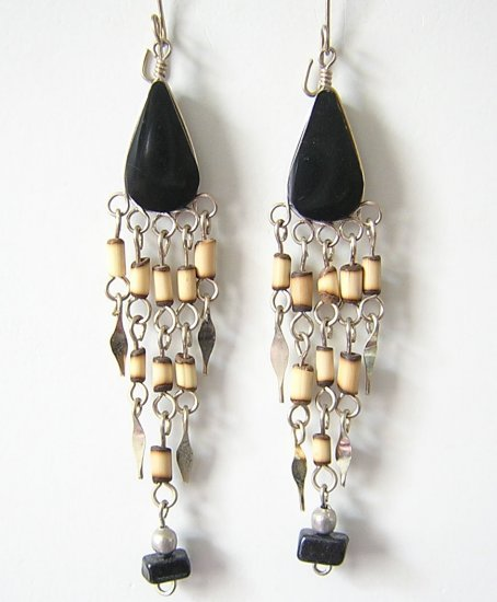 INDIAN SOUL Black Obsidian Silver Chandelier Earrings
