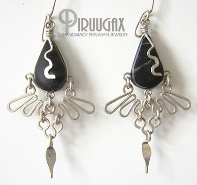 INDIAN CLOVER Black Obsidian Silver Chandelier Earrings