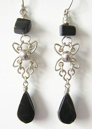 PACIFIC NIGHT Black Obsidian Silver Chandelier Earrings