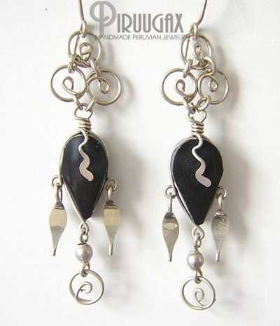 DANGLING SPIRALS Black Obsidian Silver Chandelier Earrings