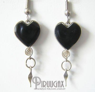HEART Black Obsidian Silver Chandelier Earrings