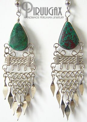 INDIAN LOVE Turquoise Silver Chandelier Earrings