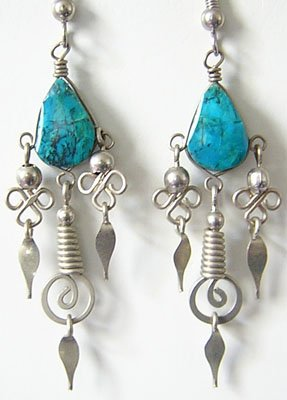 ANDEAN TREASURES Turquoise Silver Chandelier Earrings