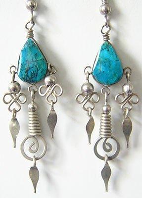 ANDEAN TREASURES Turquoise Silver Chandelier Earrings