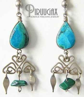 INDIAN PRIDE Turquoise Silver Chandelier Earrings
