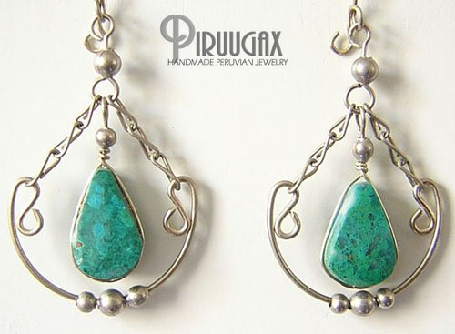 INDIAN PASSION Turquoise Silver Chandelier Earrings