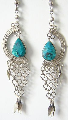 GREEN PETALS Turquoise Silver Chandelier Earrings
