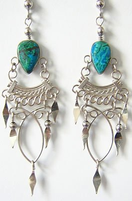 PRINCESS Turquoise Silver Chandelier Earrings