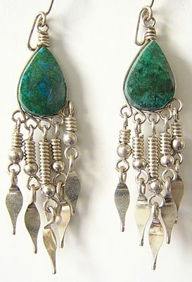 NATIVE PRIDE Turquoise Silver Chandelier Earrings