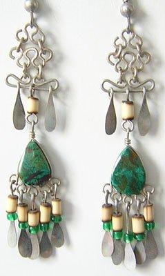 MOUNTAIN STREAM Turquoise Silver Chandelier Earrings