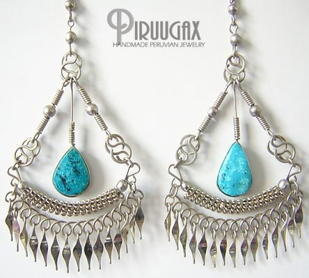 INDIAN CHARM Turquoise Silver Chandelier Earrings