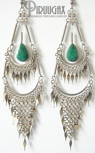 GIPSY QUEEN Turquoise Silver Chandelier Earrings