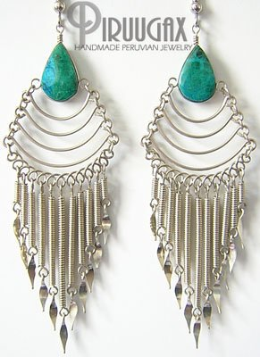 SECRET SANCTUARY Turquoise Silver Chandelier Earrings