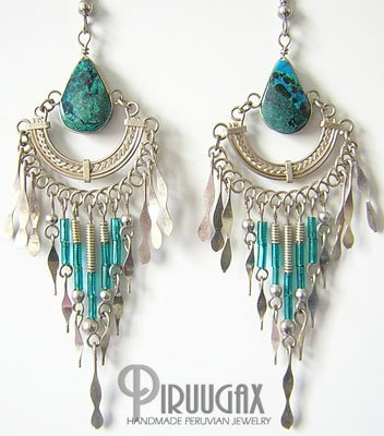 INDIAN DEITY Turquoise Silver Chandelier Earrings