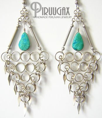 INDIAN TEMPTATION Turquoise Silver Chandelier Earrings