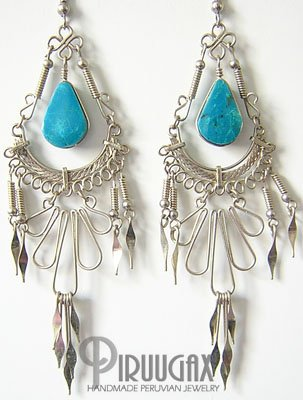 DIVINE ENCHANTMENT Turquoise Silver Chandelier Earrings