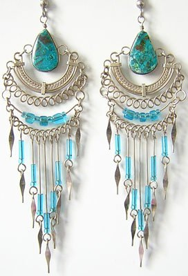 ANDEAN LOTUS Turquoise Silver Chandelier Earrings