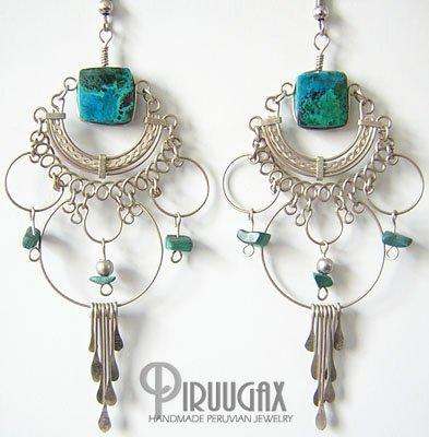 GREEN FOREST Turquoise Silver Chandelier Earrings