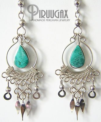 INCA TREASURE Turquoise Silver Chandelier Earrings