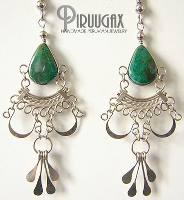 INDIAN ELIXIR Turquoise Silver Chandelier Earrings