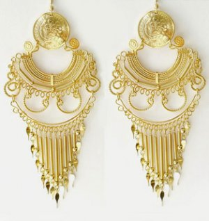 ANDEAN ELEGANCE ~24K Gold GP Coins Large Chandelier Earrings